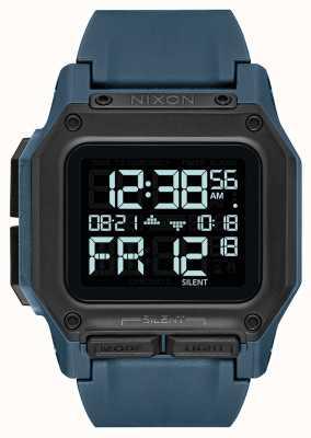 Nixon Regulus | donkere leisteen | digitaal | blauwe tpu-band A1180-2889-00