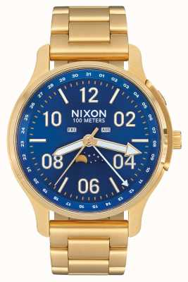 Nixon Ascender | alle goud / blauwe zonnestraal | goud ip staal | blauwe wijzerplaat A1208-2735-00