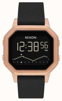 Nixon Sirene ss | rose goud / zwart | digitaal | zwarte siliconen band A1211-1098-00