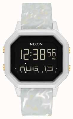 Nixon Sirene ss | zilver / grijs marmer | digitaal | marmer kleurige siliconen band A1211-3413-00