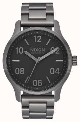Nixon Patrouille | gunmetal / zwart | gunmetal ip stalen armband | metalen wijzerplaat A1242-1531-00