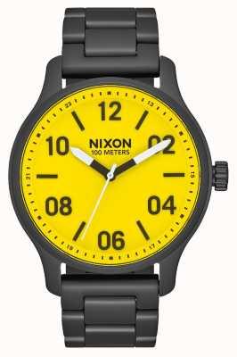 Nixon Patrouille | helemaal zwart / geel | zwarte ip stalen armband | gele wijzerplaat A1242-3132-00