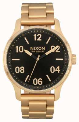Nixon Patrouille | goud / zwart | gouden ip stalen armband | zwarte wijzerplaat A1242-513-00