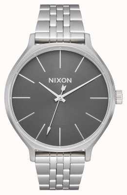 Nixon Kliek | geheel zilver / grijs | roestvrijstalen armband | zilveren wijzerplaat A1249-2762-00