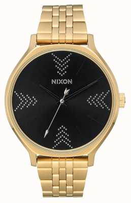 Nixon Kliek | goud / zwart / zilver | gouden ip stalen armband | zwarte wijzerplaat A1249-2879-00