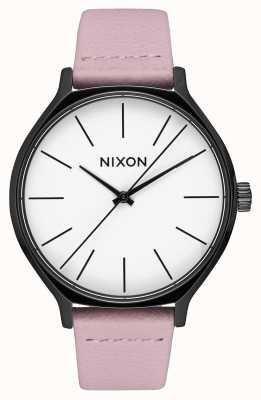 Nixon Clique leer   zwart / koraal   roze leren riem   witte wijzerplaat A1250-3318-00