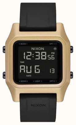Nixon Nietje | zwart / goud | digitaal | zwarte siliconen band A1309-010-00