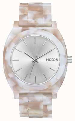 Nixon Time teller acetaat | roze / zilver | zilveren wijzerplaat A327-718-00