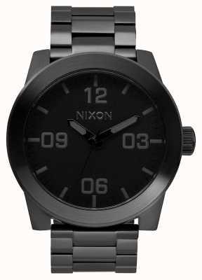 Nixon Korporaal ss | helemaal zwart | zwarte ip stalen armband | zwarte wijzerplaat A346-001-00