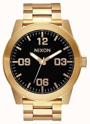Nixon Korporaal ss | geheel goud / zwart | gouden ip stalen armband | zwarte wijzerplaat A346-510-00