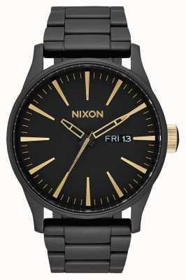 Nixon Sentry ss | mat zwart / goud | zwarte ip stalen armband | zwarte wijzerplaat A356-1041-00