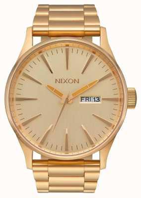 Nixon Sentry ss | alle goud | gouden ip stalen armband | gouden wijzerplaat A356-502-00