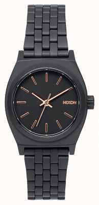 Nixon Kleine tijdteller | geheel zwart / roségoud | zwarte ip stalen armband | zwarte wijzerplaat A399-957-00
