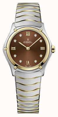 EBEL Sportklassieker voor dames | tweekleurige roestvrijstalen armband | bruine wijzerplaat 1216445A