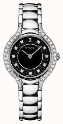EBEL Beluga voor dames | roestvrijstalen armband | zwarte wijzerplaat | diamanten set 1216466