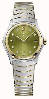 EBEL Sportklassieker voor dames | tweekleurige stalen armband | groene wijzerplaat 1216473A