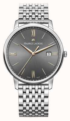 Maurice Lacroix Eliros voor heren | roestvrijstalen armband | zwart / grijze wijzerplaat EL1118-SS002-311-2