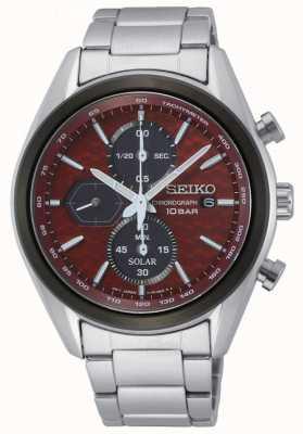 Seiko Solar voor heren | roestvrijstalen armband | rode chronograaf wijzerplaat SSC771P1
