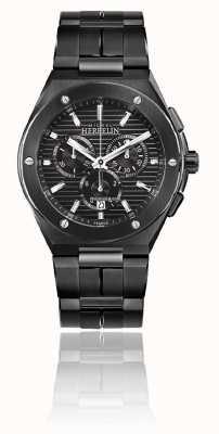 Michel Herbelin Cap camarat chrono | zwarte stalen armband | zwarte wijzerplaat 37645/BN14
