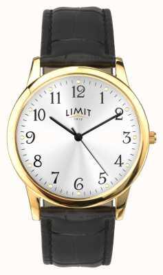Limit Gouden kast 38 mm zwarte band met krokodilleneffect 5953.01