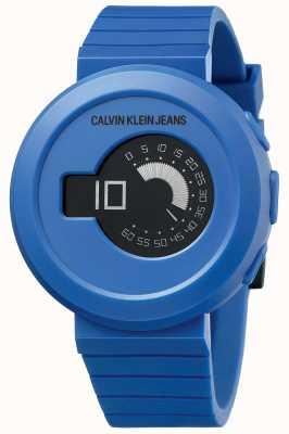Calvin Klein Digirock voor heren | blauwe siliconen band | zwarte wijzerplaat KAN51YV1