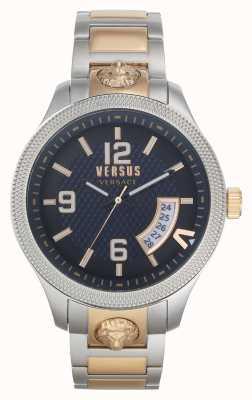 Versus Versace | heren | reale | tweekleurige stalen armband | blauwe wijzerplaat | VSPVT0920