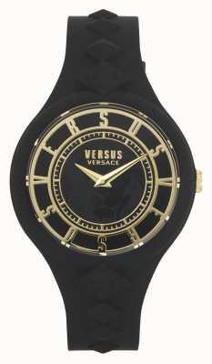 Versus Versace Vuureiland voor vrouwen | zwarte siliconen band | zwarte wijzerplaat VSP1R1020