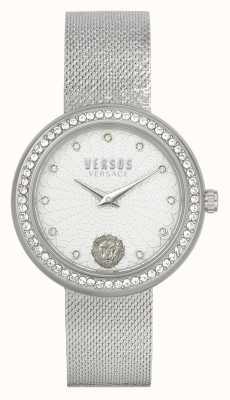 Versus Versace | vrouwen | lea | roestvrij staal | mesh armband | zilveren wijzerplaat | VSPEN1420
