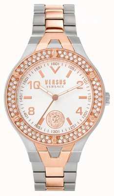 Versus Versace Vrouwenvittoria | tweekleurige stalen armband | witte wijzerplaat VSPVO0620