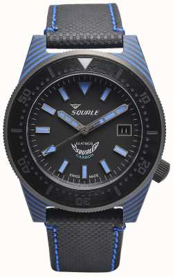 Squale Carbon stijl | zwart / blauwe wijzerplaat | zwarte microvezel band - blauw stiksel T183BL-CINT183BL