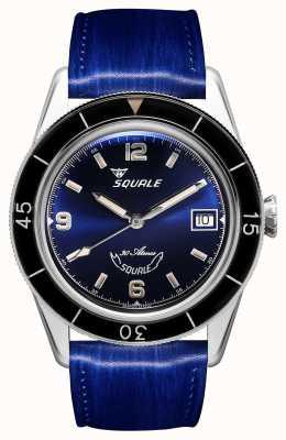 Squale 60 jaar blauw | onder-39 | blauwe leren band | blauwe wijzerplaat SUB39BL-CINSQ60BL