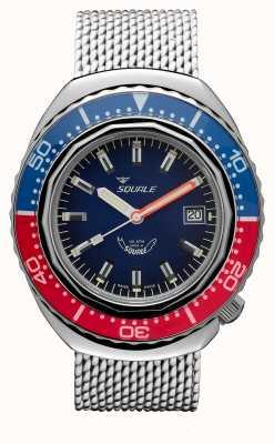 Squale 2002a blauw-rood | stalen mesh band | blauwe wijzerplaat B083401-CINSS22