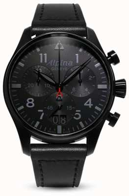 Alpina Startimer piloot chrono   zwarte leren band AL-372BB4FBS6