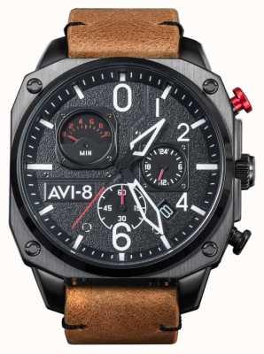 AVI-8 Hawker jager   chronograaf   bruine lederen band AV-4052-02