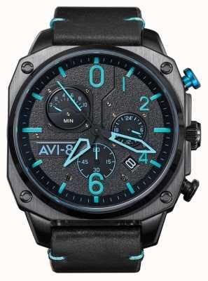 AVI-8 Hawker jager | chronograaf | zwarte leren band AV-4052-05