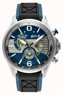 AVI-8 Hawker Harrier II | chronograaf | blauwe wijzerplaat | blauw lederen zwarte nato band AV-4056-01