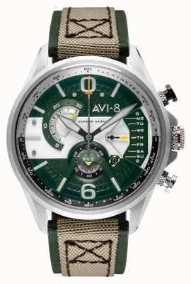 AVI-8 Hawker Harrier II | chronograaf | groene wijzerplaat | groen lederen beige nato band AV-4056-02