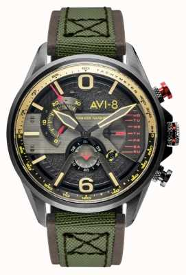 AVI-8 Hawker Harrier II | chronograaf | grijze wijzerplaat | bruin lederen groene nato band AV-4056-03