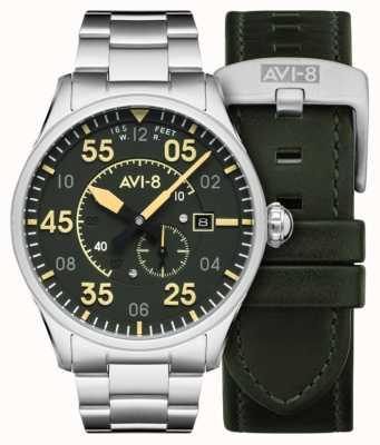 AVI-8 Spitfire | automatisch | groene wijzerplaat roestvrijstalen armband | extra leren riem AV-4073-22