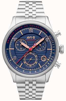 AVI-8 Flyboy lafayette | chronograaf | blauwe wijzerplaat | roestvrij stalen armband AV-4076-22