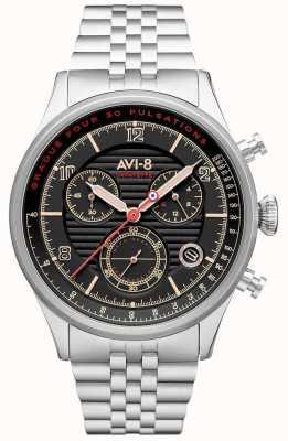 AVI-8 Flyboy lafayette | chronograaf | zwarte wijzerplaat | roestvrij stalen armband AV-4076-33