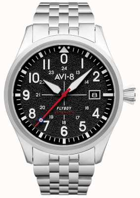 AVI-8 Flyboy   automatisch   zwarte wijzerplaat   roestvrij stalen armband AV-4075-11