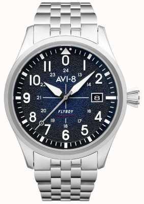 AVI-8 Flyboy | automatisch | blauwe wijzerplaat | roestvrij stalen armband AV-4075-22