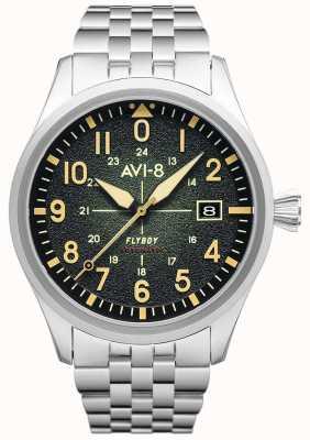 AVI-8 Flyboy   automatisch   groene wijzerplaat   roestvrij stalen armband AV-4075-33
