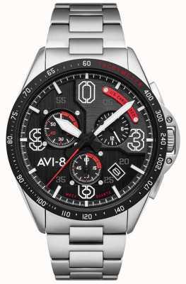 AVI-8 P-51 mustang | chronograaf | zwarte wijzerplaat | roestvrij stalen armband AV-4077-11