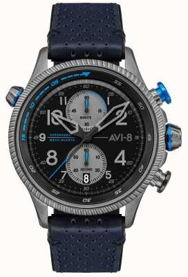 AVI-8 Hawker jager | chronograaf | zwarte wijzerplaat | blauwe lederen band AV-4080-02