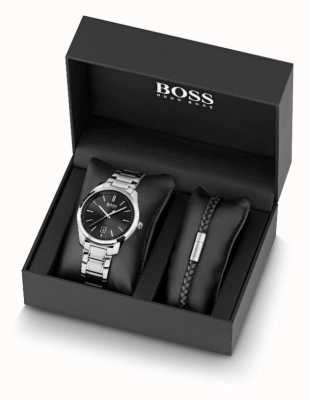 BOSS Set van roestvrijstalen herenhorloge en armband van zwart leer 1570084