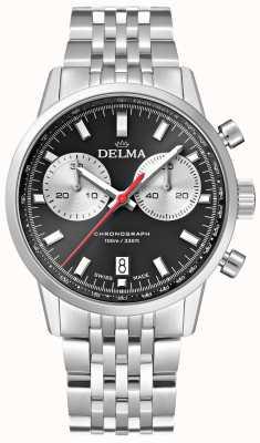 Delma Continental chronograaf | stalen armband | zwarte wijzerplaat 41701.704.6.031