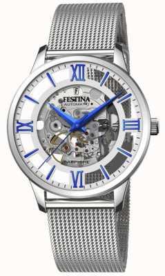 Festina Automatisch skelet voor heren | stalen mesh armband | zilver / blauwe wijzerplaat F20534/1