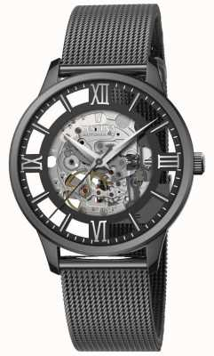 Festina Automatisch skelet voor heren | zwarte mesh armband | zwarte wijzerplaat F20535/1